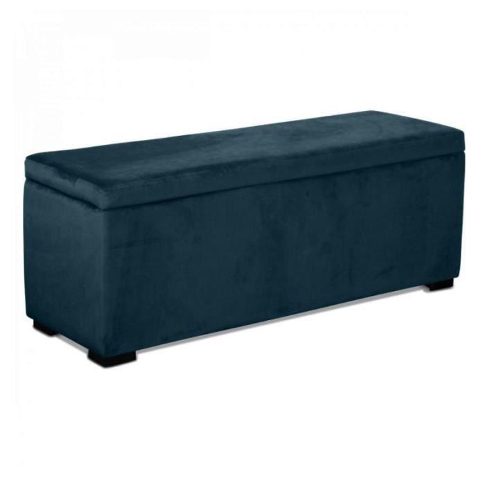Banquette coffre velours bleu saxo taille 120 x 40 x H 45 cm