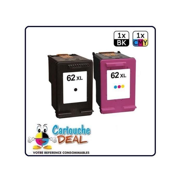 HP 62XL : Lot 2 cartouches compatible pour Envy 5640 5640 5644 5660 5660 7640 7640 OfficeJet 5740 5742 - HP62 XL