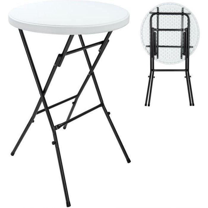 Table haute pliante Ø 72 cm blanc Table ronde d'appoint 110 cm Table de bistrot Mange debout jardin extérieur