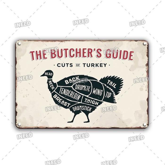 Coupe de porc canard poisson étain signe Vintage le Guide du boucher plaque de métal décor - 60117-20x30 cm