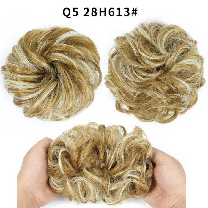 Q5 28H613 -Kong & Li – chouchou synthétique pour Chignon, chouchou bouclé, avec bande de caoutchouc, marron, gris, élastique, annea