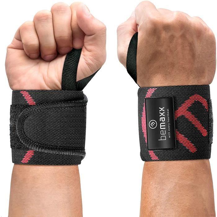 BARRE - HALTERE - POIDS Protege Poignet Musculation pour Halt&eacuterophilie, Crossfit - 2X Bande de Support, Sangles de Leva78