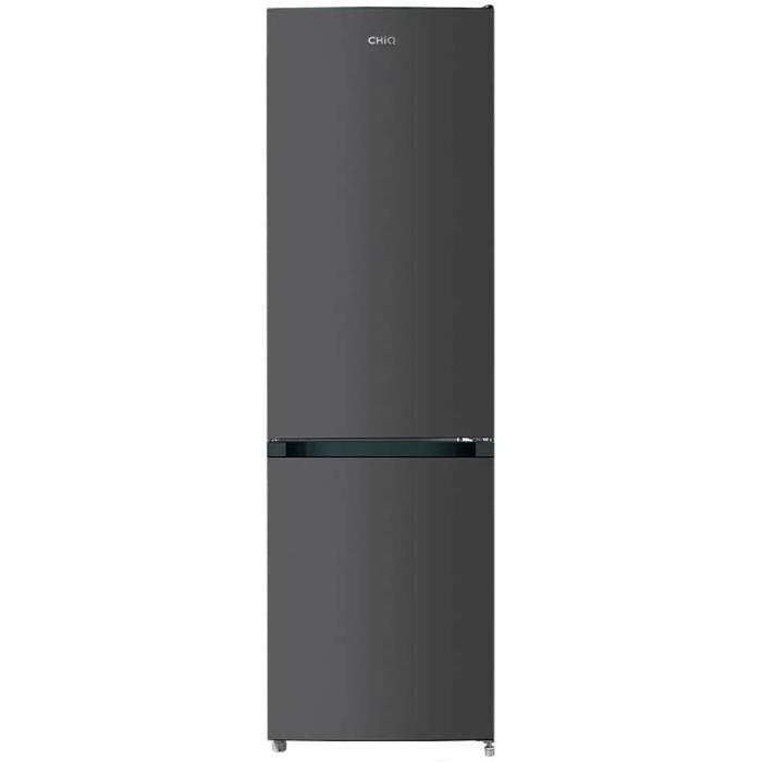 CHiQ Réfrigérateur congélateur bas FBM250NE4 250L (180 + 70) Froid ventilé, No Frost, Acier inoxydable, niveau sonore maximum 42 db,