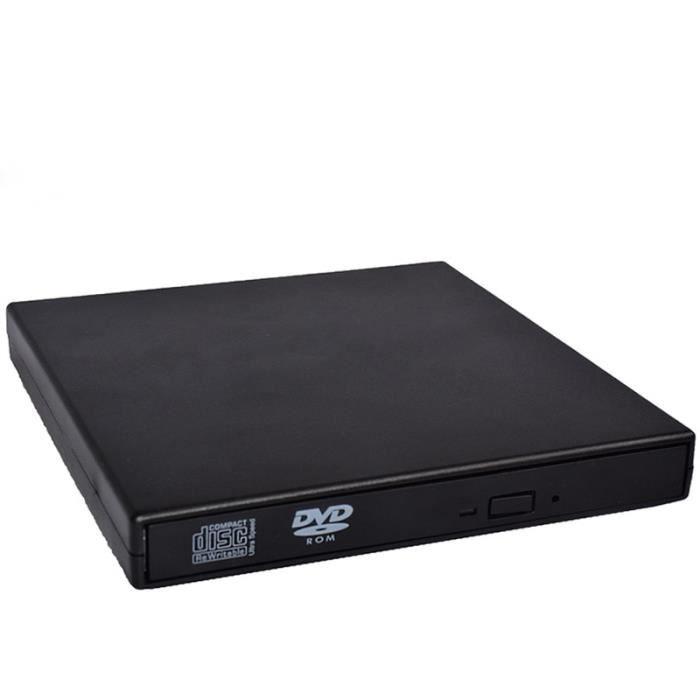 Lecteur CD DVD Externe USB 2.0 pour PC portable, Graveur CD DVD Externe USB 2.0 CD, VCD, DVD pour WIN 98-ME-2000-XP, Noir