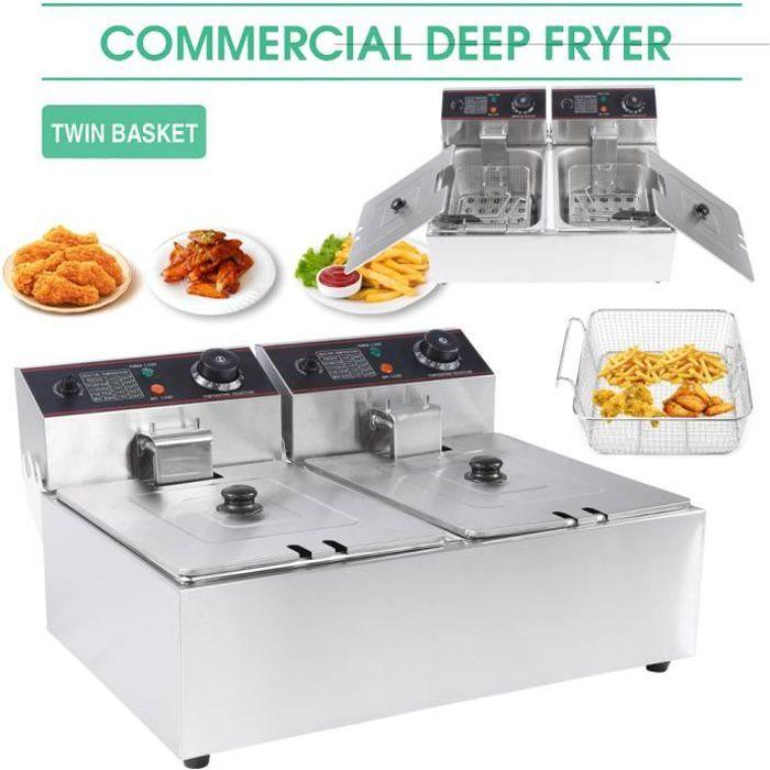Friteuse électrique cuve inox doubles thermostats 12L Family Fryer sierreshop®