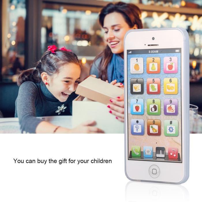 Blanc1x Jouet téléphone portable pour enfant iPhone apprentissage éducatif jouet -TUN