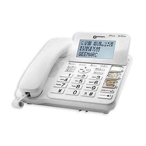 Geemarc Telecom CL595 Fixe Filaire AMPLIFIE + 50db avec Grosses Touches et Possibilite D'ajouter des Combines Aditionnel