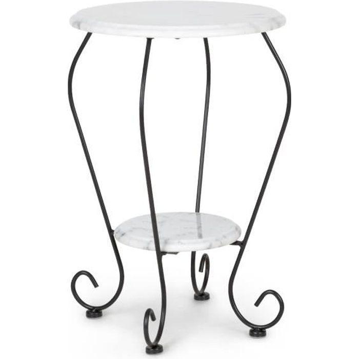 Blumfeldt Patras Flower Table d'appoint ronde - Guéridon - 2 plateaux en marbre blanc naturel - design élégant