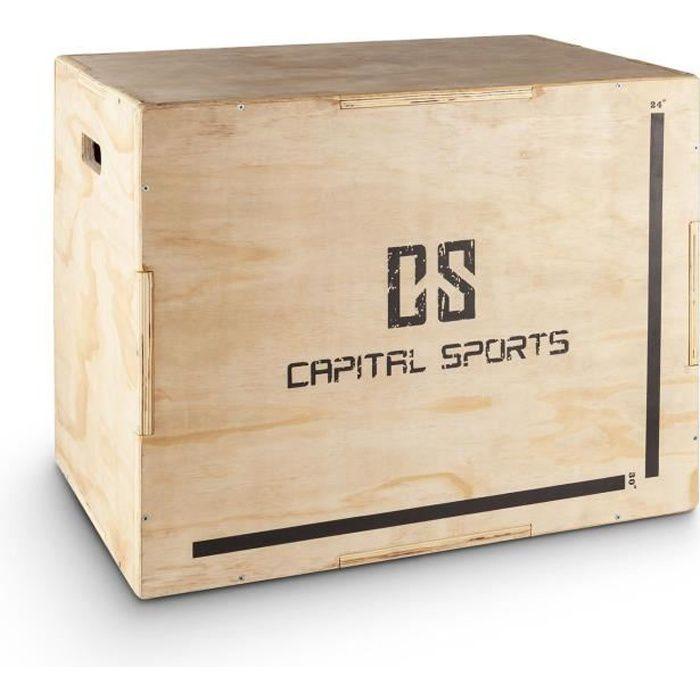 CAPITAL SPORTS Shineater - Plyo-Box / Jump Box 3 hauteurs 11 épaisseurs pour entrainement plyométrique (20-, 24-, 30-) - bois nature