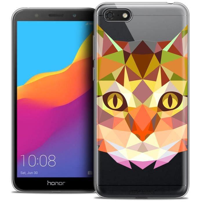 Coque Gel Huawei Y5 2018 (5.4 ) Extra Fine Polygon Animals - Chat