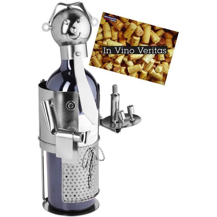 BRUBAKER Porte-bouteille de vin - Serveur - Métal - Carte de vœux incluse - Idée cadeau originale - Objet décoratif - 99318