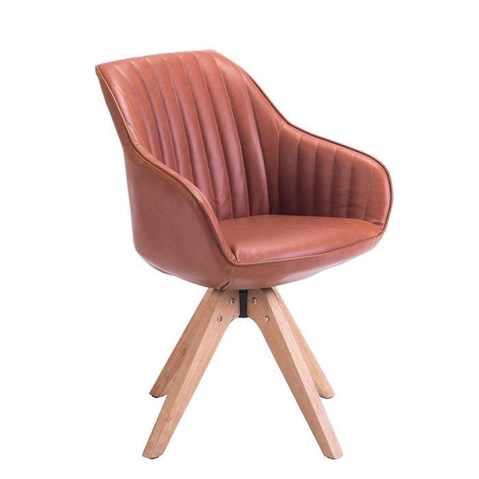 Kayelles DUNE Chaise Design scandinave pivotante (Havana)