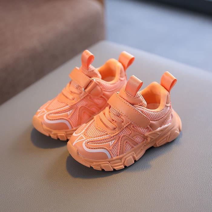 Baskets respirantes fluorescentes pour enfants, chaussures de course, de sport, de danse, de Jazz, vert, Orange, pour Garçonss et f