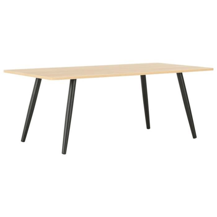 Table basse design scandinave salon contemporain Noir et chêne 120x60x46 cm