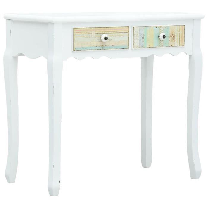 Table console extensible Table d'Appoint Table d'entrée contemporain Blanc 80x40x74 cm Bois