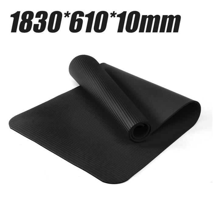 TEMPSA Tapis yoga 1830x610x10mm entraînement gymnastique anti glissant épais NOIR