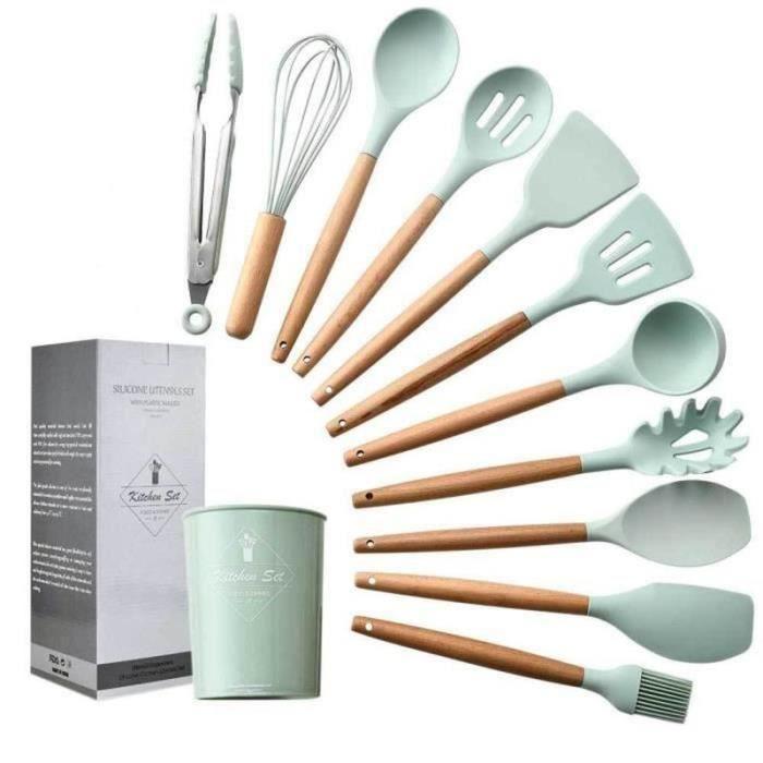 HK21623-11pcs Set ustensiles de cuisine en silicone avec Boîte de rangement Coffret