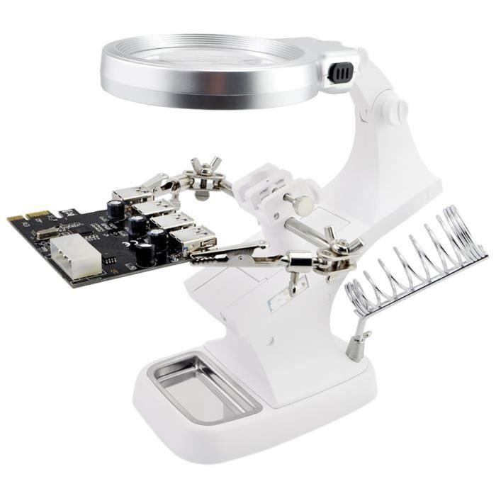 une Loupe LED 3,5X 12X avec Pince Crocodile Auxiliaire Support pour la Soudure Electronique