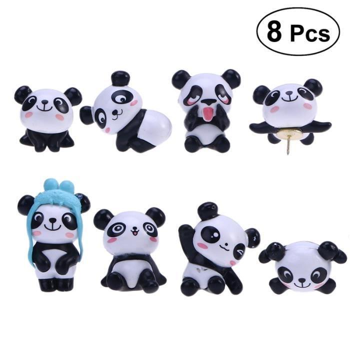 8 Pcs Panda Pochettes En Plastique Dessin Animé Mignon Dessin Goupille Poussée Ensemble Pour Cartes Calendrier