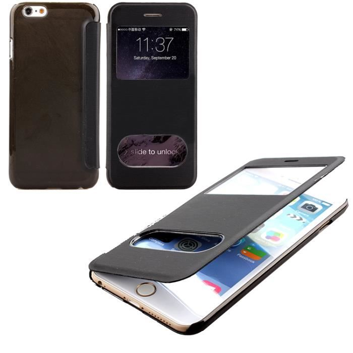 Coque housse etui double view iphone 5 5s noir achat for Etui housse iphone 5