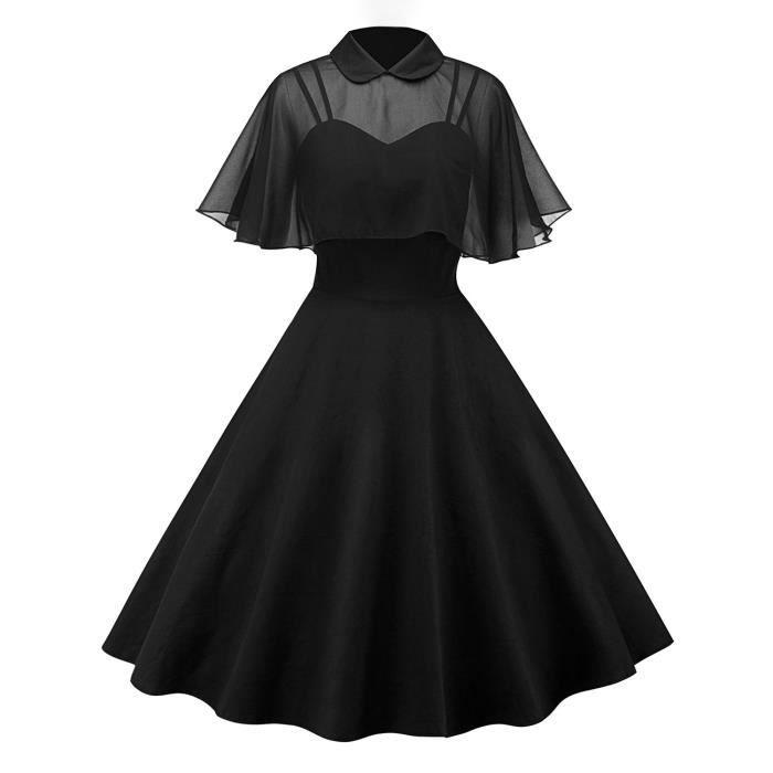 Robe Noire Avec Bolero Voile Transparent Et Col Retro Vintage Elegant Chic Noir Achat Vente Robe Cdiscount