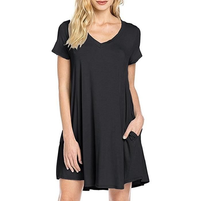 Womens Short Sleeve Casual Loose T-shirt Dress 2ED35D Taille-38