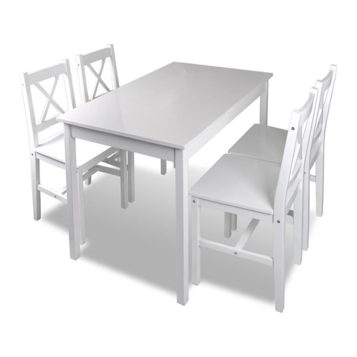 Set table cuisine avec 4 chaise en bois blanc meubles achat vente table de cuisine set table for Chaise bar blanc bois