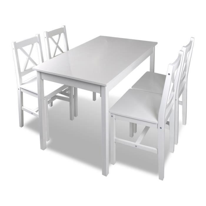 Set Table Cuisine Avec 4 Chaise En Bois Blanc Meubles Achat