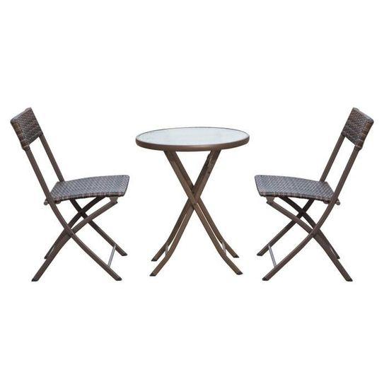 Ensemble salon de jardin 2 places table ronde pliable plateau verre trempé  chaises pliantes résine tressée chocolat 29 60x60x72cm