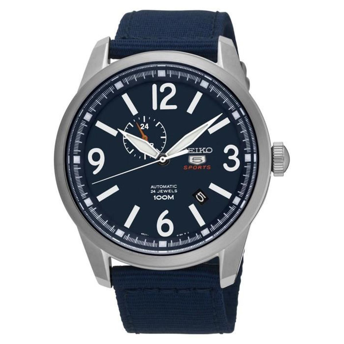 seiko 5 sports homme 45mm bracelet tissu bleu automatique montre ssa301 achat vente montre. Black Bedroom Furniture Sets. Home Design Ideas