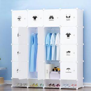 ARMOIRE DE CHAMBRE Meuble de Rangement 20 Cubes Blanc pour Décoration