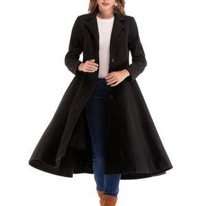 MANTEAU - CABAN Hiver Lady Womens Solide Couleur simple Manteau de