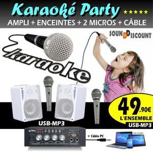 MICRO - KARAOKÉ KARAOKÉ MICRO ENFANTS PACK 2 ENCEINTES + AMPLI USB