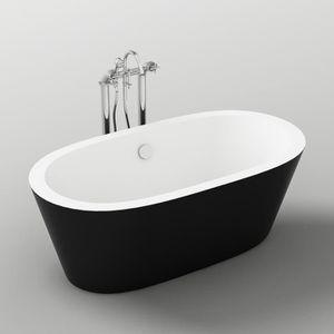 BAIGNOIRE - KIT BALNEO Baignoire - 170x80x58cm - Design bicolore - Noir/B