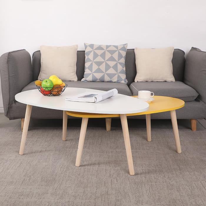 HEK Lot de 2 Table Basse Gigognes Design Scandinave OVALE pour Salon, Bureau Blanc et Jaune