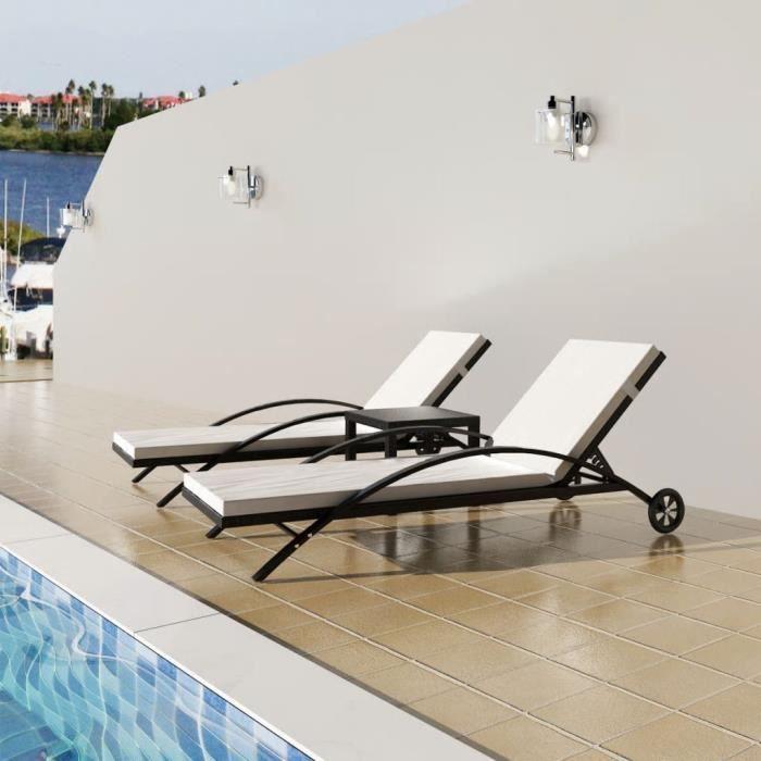 MONE Chaises longues avec table Bain de soleil Chaise de Repose Résine tressée - Noir☺64344