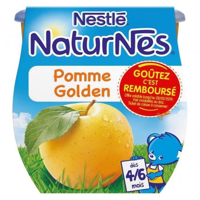Nestlé Naturnes Pomme Golden (dès 4/6 mois) par 2 pots de 115g (lot de 10 soit 20 pots)