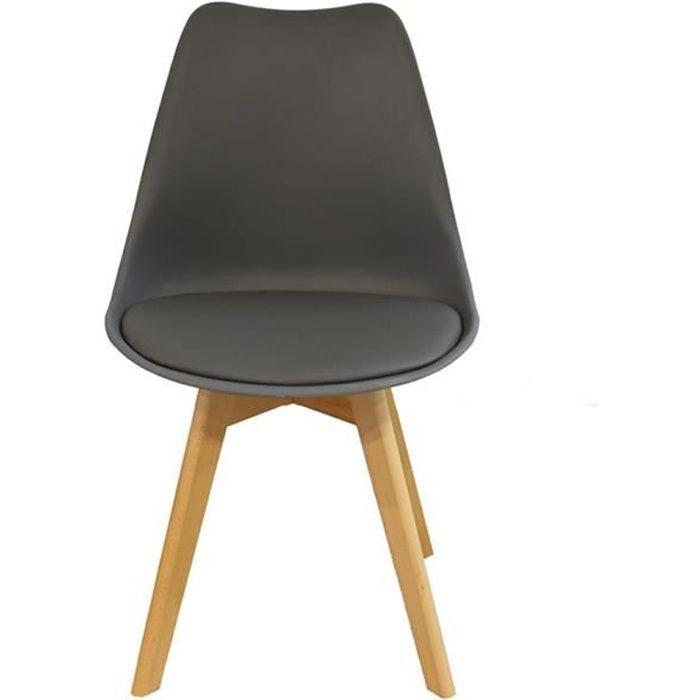 Lot de 4 chaises de salle à manger scandinaves pieds bois hêtre LAGOM assise simili cuir Gris