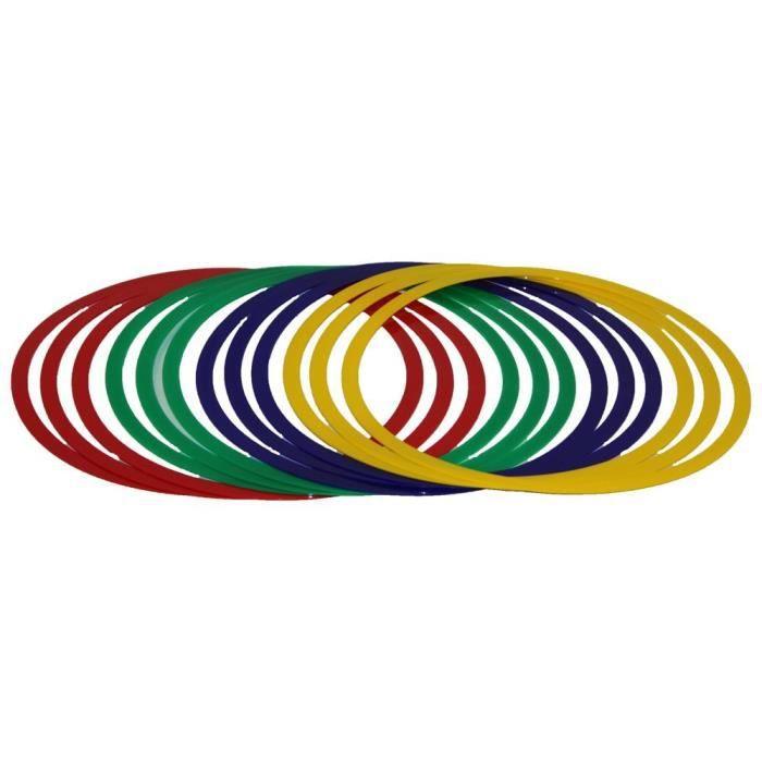 lot de 12 cerceaux souples, Ø 45 cm, 4 couleurs, contient également un sac