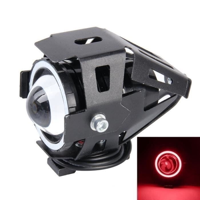 Phare Moto U7 10W 1000lm CREE lumière LED étanche vie Lampe frontale Angel Eyes SUV DC 12V Red Light