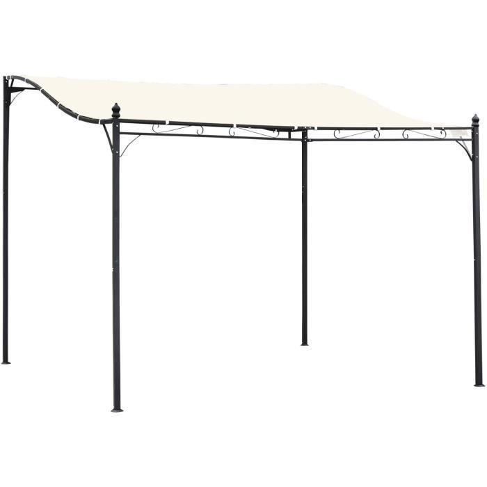 Outsunny Pergola tonnelle de Jardin auvent 2,97 x 2,97 m adossable métal Noir Polyester imperméabilisé Anti-UV Beige99