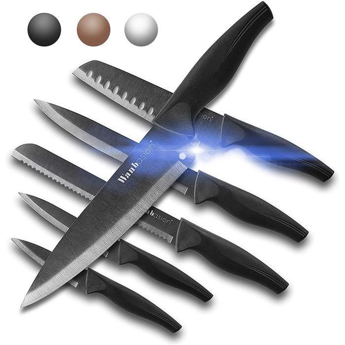 Wanbasion 6 pièces Ensemble de Couteaux de Cuisine Professionnel, Set Couteaux de Cuisine Chef, Couteaux de Cuisine en Acier Ino32