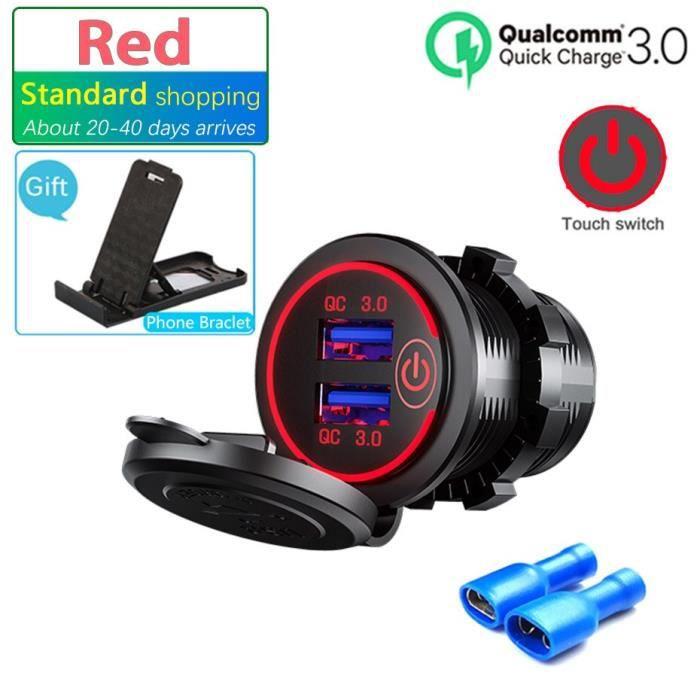 Prise double USB, interrupteur tactile, étanche, universel, pour moto, camion, bateau, téléphone, tablette, GPS, 12V-24V*SD1400