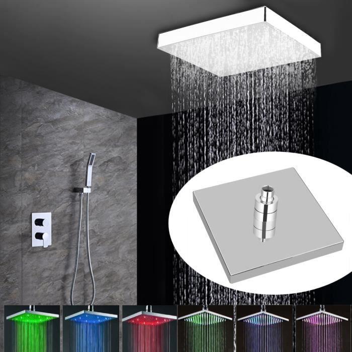 Pommeau de douche LED de pluie de visage de chrome carré de 8 pouces 7 couleurs changeant la maison de lumière romantique