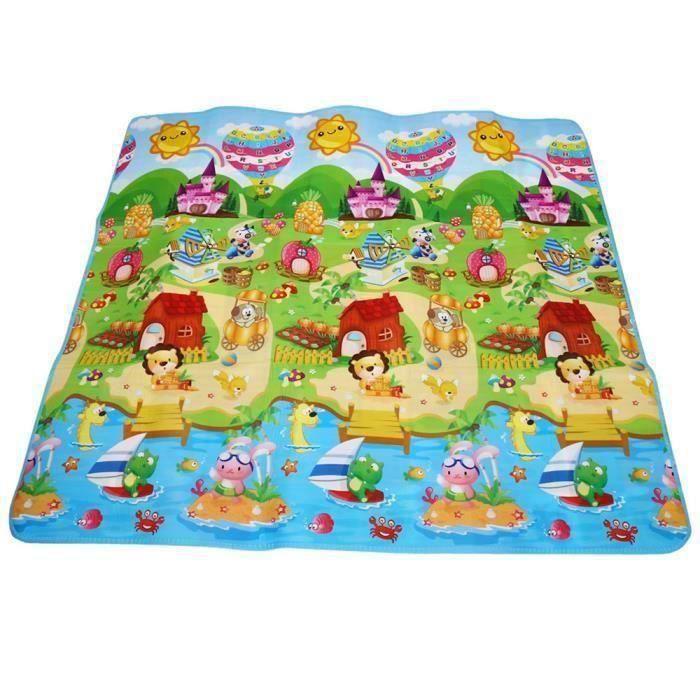 tapis de jeu pour bébé enfant de grande taille 180x200cm tapis de mousse avec les alphabets chiffres animaux pour jardin - sa l1468