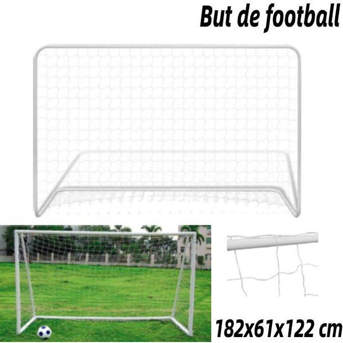CAGE DE FOOT But de football avec filet 182x61x122 cm Acier Blanc Vogue