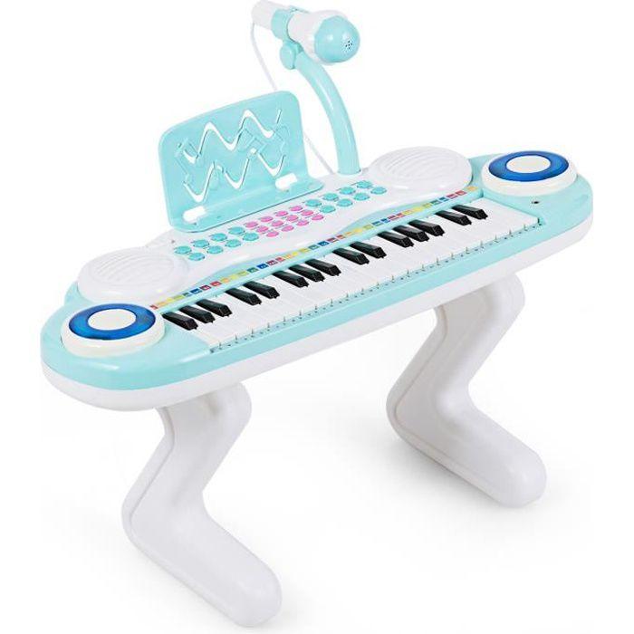 COSTWAY Clavier de Piano Electronique à 37 Touches pour Enfants Jouet Piano Educatif Portable avec Lumière Rythmique Bleu Claire