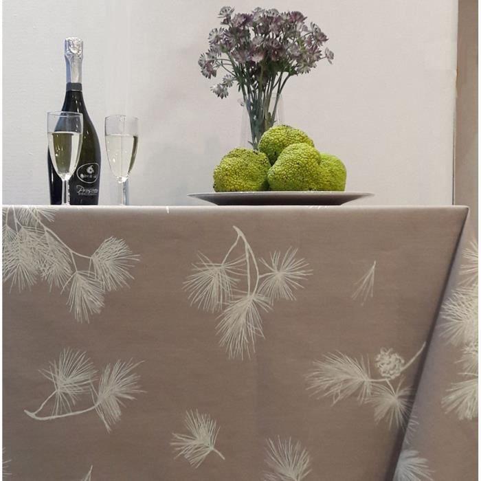 Nappe Pin beige coton enduit 120x120 - Fleur de Soleil