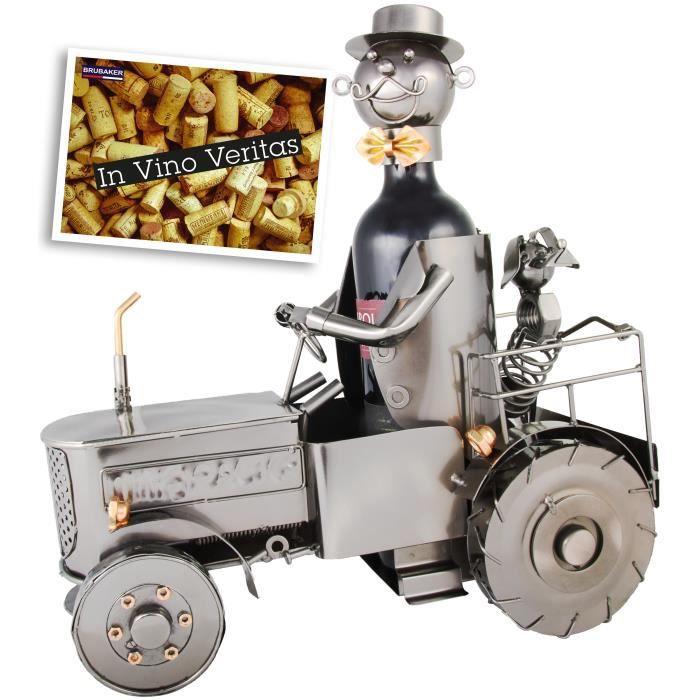 BRUBAKER Tracteur de Bouteille de vin avec conducteur et Chien – Objet décoratif en métal – Support pour Bouteille
