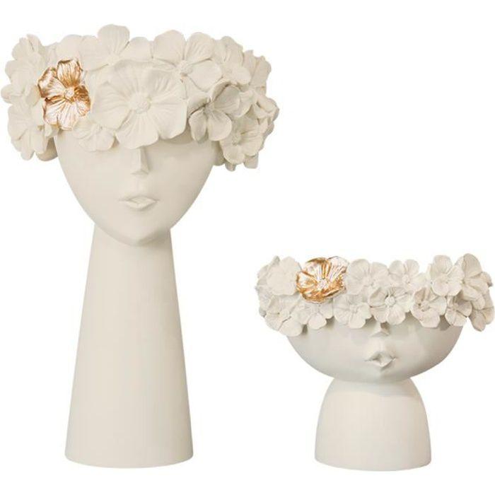 2x Tête Humaine Fleur Vase, moderne Femmes Fille Visage Conception Bourgeon Grand Vase Bouquet Bouquet Dressing Table Beige blanc